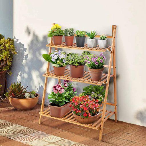 estantes para plantas de madera